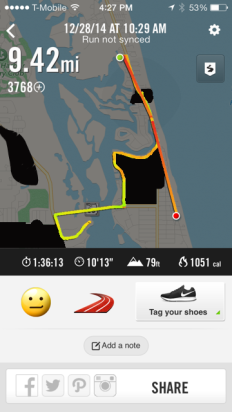 Not my best time since walking was involved after mile 5. Glad I got out on a stunning day though!