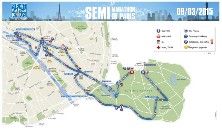 The Paris Half-Marathon route. Image by: http://www.semideparis.com